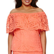 Bisou Bisou® Off-The-Shoulder Lace Top - Plus