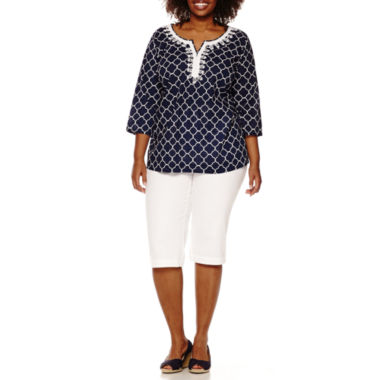 jcpenney.com | St. John's Bay® Embroidered Tunic and Secretly Slender Twill Cropped Pants - Plus