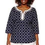 St. John's Bay® 3/4 Sleeve Embroidered Tunic - Plus
