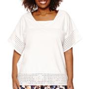 St. John's Bay® Eyelet-Edged Knit Poncho Shirt - Plus