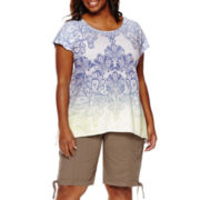 St. John's Bay® Short-Sleeve T-Shirt or Cargo Bermuda Shorts - Plus