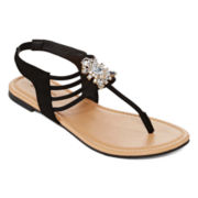 Mixit™ Strappy Cluster Stone Flat Sandals
