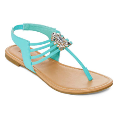 jcpenney.com | Mixit™ Strappy Cluster Stone Flat Sandals