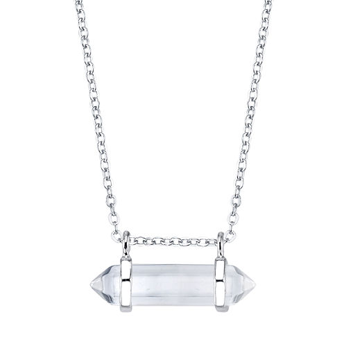 Bridge Jewelry Womens Clear Silver Over Brass Pendant Necklace