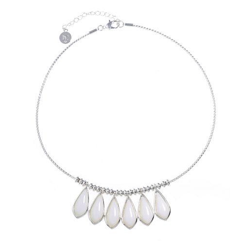 Liz Claiborne Womens White Collar Necklace