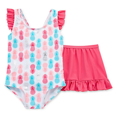Pattern One Piece Swimsuit Toddler Girls