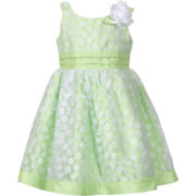 Youngland® Green Floral Dress - Girls 2t-5t