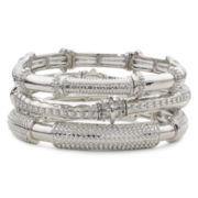 Mixit® Silver-Tone Etched 3-Row Stretch Bracelet