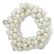 Vieste® Silver-Tone Simulated Pearl & Crystal Shaky Bracelet