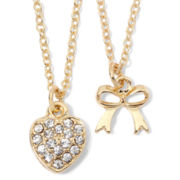 Carole Heart & Bow 2-pc. Pendant Necklace Set