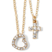 Carole Heart & Cross 2-pc. Pendant Set