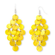 Mixit™ Silver-Tone Yellow Shells Chandelier Earrings