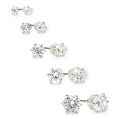jcpenney.com | Sensitive Ears Crystal 5-pr. Stud Earring Boxed Set