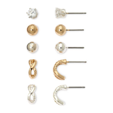 jcpenney.com | Sensitive Ears Silver- & Gold-Tone Cubic Zirconia 5-pr. Earring Set