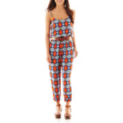 City Triangles® Sleeveless Belted Print Jumpsuit
