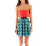 City Triangles® Strapless Belted Lace-Top Dress