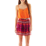 City Triangles® Sleeveless Belted Lace Print Dress