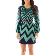 Fire Belted Long-Sleeve Chevron Print Shift Dress