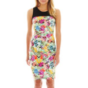 nicole by Nicole Miller® Sleeveless Print Tucked Dress