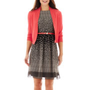 Ronnie Nicole Belted Print Dress with Jacket