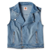 Total Girl® Denim Moto Vest - Girls 6-16 and Plus