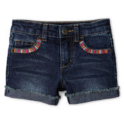 Arizona Embroidered-Pocket Shorties - Girls 12m-6y