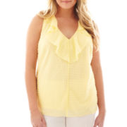 by&by Sleeveless Swiss Dot Ruffled Top - Plus