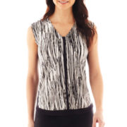 Worthington® Short-Sleeve Tipped Top - Petite