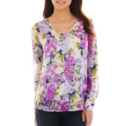 Liz Claiborne Long-Sleeve Garden Floral Blouse with Cami - Tall