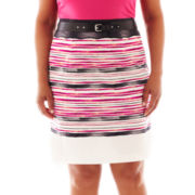 Worthington® Belted High-Waist Pencil Skirt - Plus