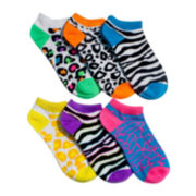 6-pk Neon Novelty No-Show Socks