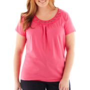 St. John's Bay® Embellished Short-Sleeve Top - Plus