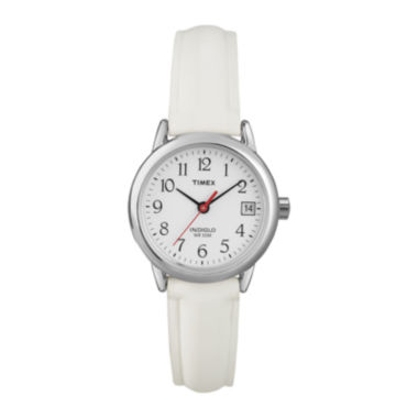 jcpenney.com | Timex® Easy Reader Womens White Leather Strap Watch T2H3917R