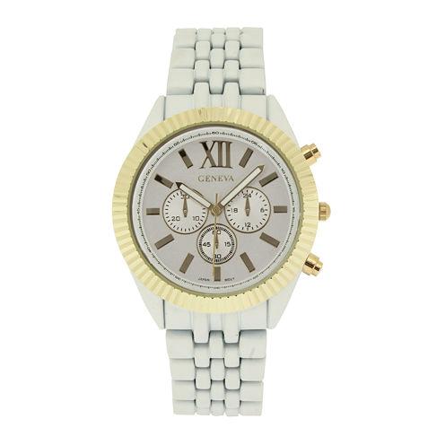 Womens Coin-Edge Bezel White Dial Bracelet Watch