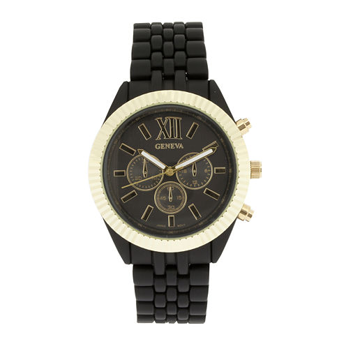 Womens Coin-Edge Bezel Black Dial Bracelet Watch