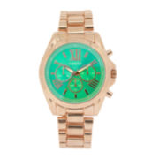 Womens Teal Dial Rose-Tone Bracelet Watch