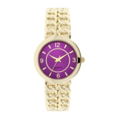 jcpenney.com | Womens Chain-Link-Look Bangle Watch