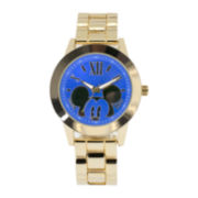 Disney Mickey Mouse Womens Blue Dial Gold-Tone Bracelet Watch