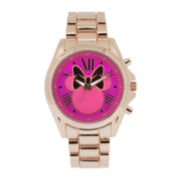 Disney Minnie Mouse Womens Pink Dial Rose-Tone Bracelet Watch