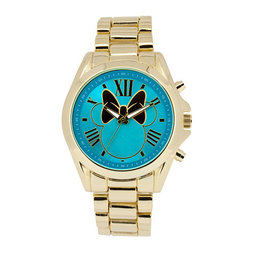 Disney Minnie Mouse Womens Blue Dial Gold-Tone Bracelet Watch