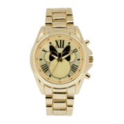 Disney Minnie Mouse Womens Gold-Tone Dial Gold-Tone Bracelet Watch