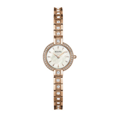 jcpenney.com | Bulova® Womens Crystal-Accent Rose-Tone Stainless Steel Bracelet Watch 98L215