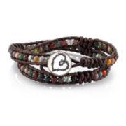 Footnotes Too® Genuine Jasper & Brown Rope Love Charm Wrap Bracelet