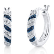 Crystal Sophistication™ Blue and Clear Crystal Stripe Hoop Earrings