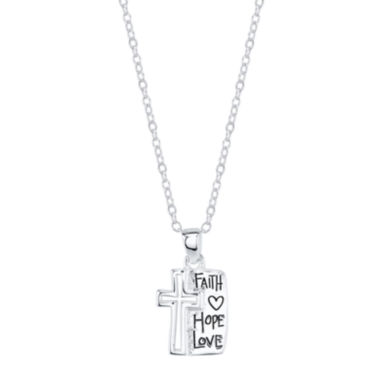 "jcpenney.com | Footnotes® Sterling Silver ""Faith Hope Love"" Cross Pendant Necklace"
