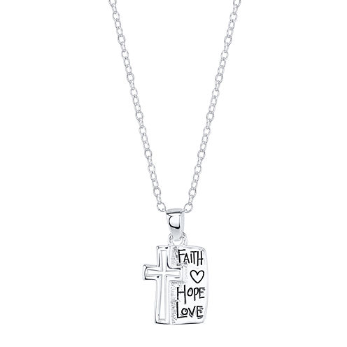 """Footnotes® Sterling Silver """"Faith Hope Love"""" Cross Pendant Necklace"""