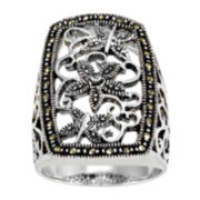 Marcasite Pure Silver-Plated Cocktail Ring