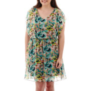 by&by Sleeveless Belted Print Dress - Plus