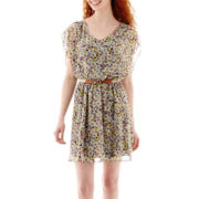 by&by Sleeveless Belted Print Dress