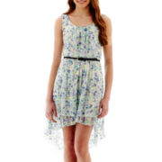 As U Wish® Sleeveless High-Low Hem Print Lace Dress